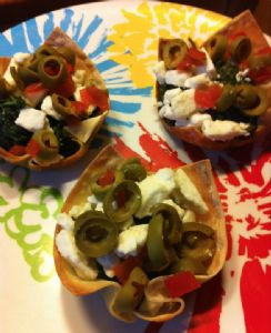 Bariatric Friendly Spinach Feta Won Tons with Green Olives (Serving 2 Won Tons)