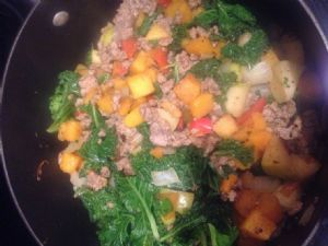 Butternut Squash Hash with Apple, Sausage and Kale