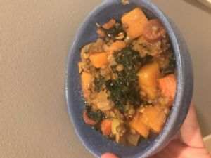 Curried butternut squash, apple & kale stew