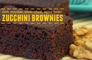 Dark Chocolate Whole Wheat Zucchini Brownies w/ Agave Nectar