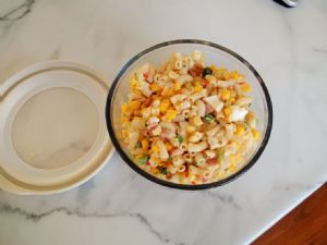 Kraft Green Box Pasta Salad made as Egg Salad (on back) with added Ham 1c Serving