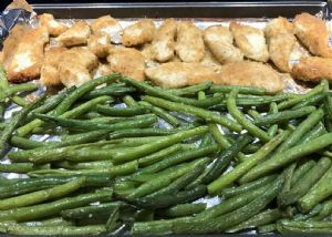 Roasted Garlic Parmesan Chicken Tenders and Green Beans with Cherry Tomatoes