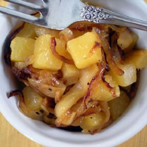 Rutabaga with carmelized Onions and Apples