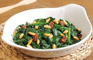 Spinach with Golden Raisins and Pine Nuts RECIPE