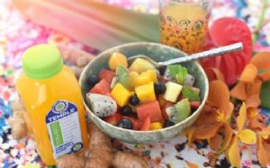 Tropical Fruit Salad with Coconut Turmeric Dressing