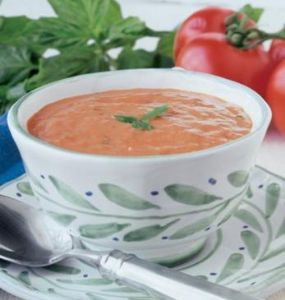 Creamy Tomato Gorgonzola Soup with Fresh Basil