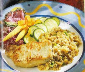 Pork Chops with Jalapeno-Pecan Cornbread Stuffing