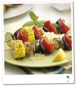Chunky Vegetable Skewers on Couscous.