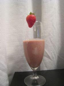 Strawberry banana chocolate smoothie