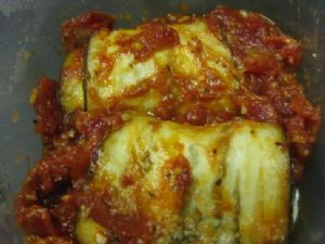 Cheese Filled Eggplant with Tomato Pepper Sauce