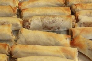 Baked Egg Rolls and Dipping Sauce
