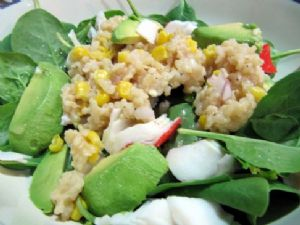 Crab & Baby Spinach Salad with Lemon Shallot Dressing