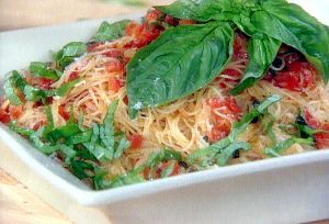 Fresh Tomato, Basil, and Garlic Sauce over Angel Hair Pasta