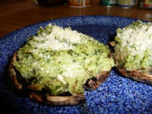 Vegan Portabellas Stuffed with Pesto-Mashed Potatoes (from fatfreevegan.com)