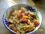 Fish Stew w/beets & broccoli