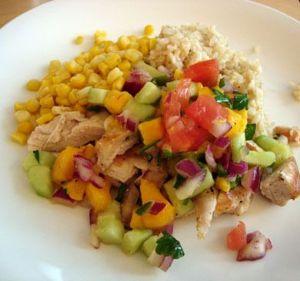 Grilled Chicken with Warm Mango Salsa
