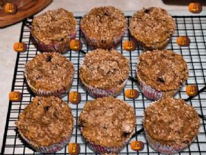 Whole Grain Banana Pumpkin Blueberry Muffins
