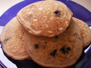 Whole Wheat Oatmeal Pancakes (w/ Blueberries)