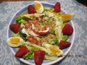 Egg, Strawberry, Veggie Salad with Parmesan Buttermilk Dressing
