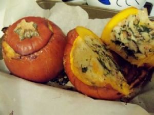 Thanksgiving casserole stuffed pumpkin