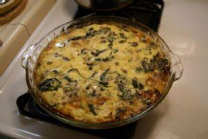 Crustless Quiche: Spinach, Mushroom and Cauliflower