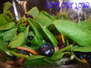 Blueberry Spinach Salad with raspberry vinaigrette (by cookoutloud.com)