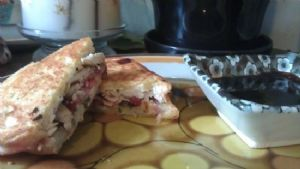 Panini, Grilled Chicken, Strawberry, Basil and Goat Cheese