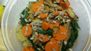 Quinona with Bok Choy, Carrots and Mushrooms
