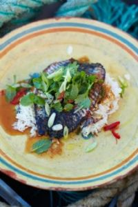 Jamie Oliver's Crispy-skinned mackerel with Asian-inspired dressing