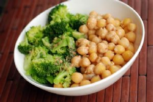 Chickpea and Broccoli Quinoa Bowl with a Peanut-Miso Sauce