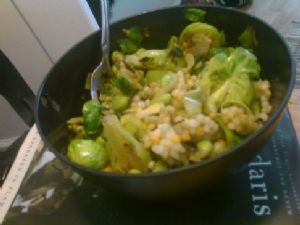 Leeks & Sprouts with Edamame and Israeli Couscous