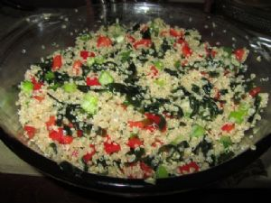 Quinoa with Seaweed & Red/Yellow Sweet Peppers
