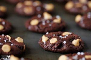 Salted Dark Chocolate Peanut Butter Cookies