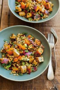 Wheat Berries with Roasted Parsnips, Butternut Squash & Dried Cherries