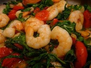 Sautéed Shrimp with Arugula and Tomatoes