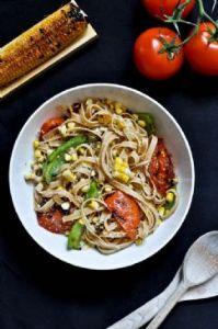 Grilled Corn and Tomato Fettuccine