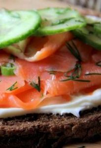 Smoked salmon on linseed rye bread