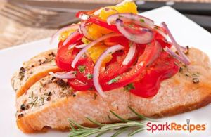 Baked Lemon-Chili Salmon with Tomatoes and Onions
