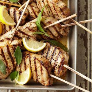 Lemon-Sage Pork Chop Skewers