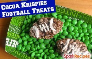 Chocolate Peanut Butter Footballs (Cocoa Rice Krispie Treats)