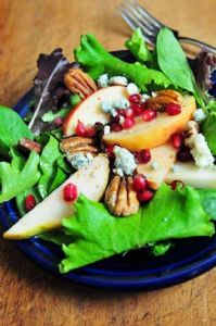 Apple Pear Salad with Pomegranate Vinaigrette - an Add a Pinch recipe