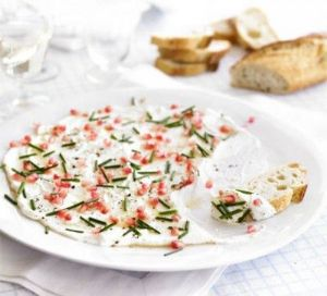 Goat cheese with pomegranate & chives