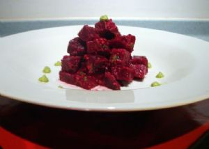 Lap-band Friendly: Roasted Beets with Pistachio Pomegranate Dressing