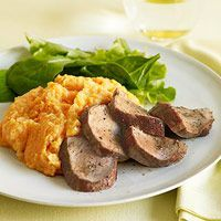 Maple-Glazed Pork with Mashed Sweet Potatoes and Parsnips