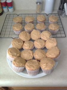 Angel Food Banana Cupcakes with Peanut Butter Frosting