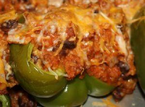 Turkey stuffed roasted bell peppers