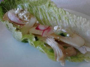 Chicken and Apple Lettuce Wraps with Feta