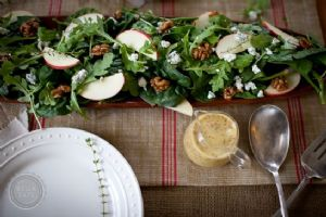 Autumn Salad with Apples, Blue Cheese, + Candied Walnuts