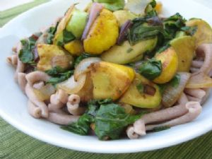 Farro Pasta with Summer Squash and Chard