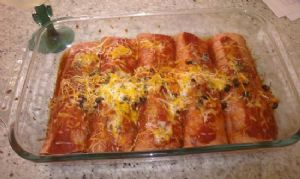 KP's chicken and black bean enchiladas (with cottage cheese)